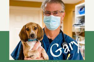 male veterinarian holding beagle puppy
